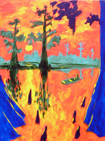 """Cypress Bayou 2"" contemporary figurative painting"