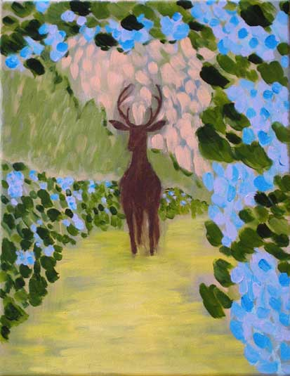 """Deer in the Vineyard"" contemporary figurative painting. acrylic on canvas. 14 in x 18 in"