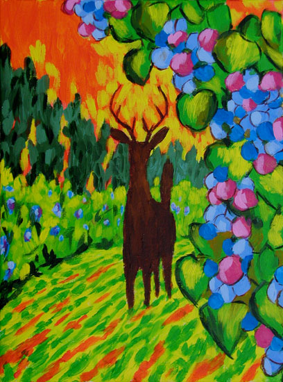 """Deer in the Vineyard 2"" fine art painting. acrylic on canvas. 12 in x 16 in"