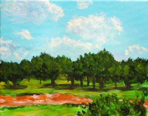 """Dry Creek Bed"" contemporary figurative painting. acrylic on canvas. 14 in x 11 in."