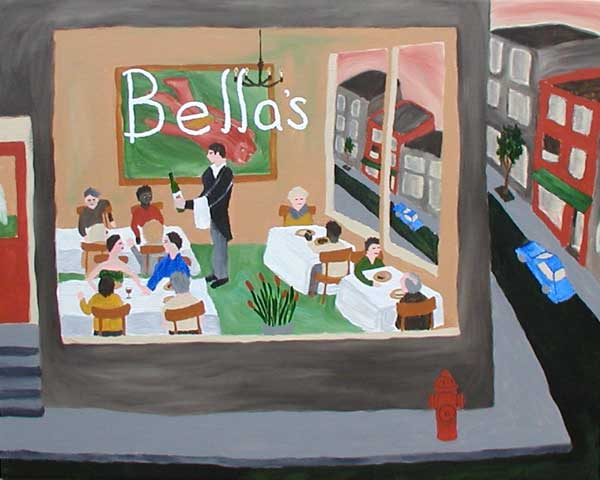 """The Engagement Dinner"" contemporary figurative painting. acrylic on canvas. 36 in x 24 in"