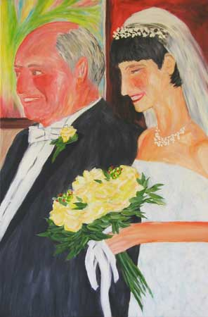 """Father of the Bride"" contemporary figurative painting. acrylic on canvas. 24 in x 36 in."