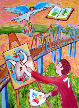 """Painting the Greenville Bridge"" contemporary figurative painting"