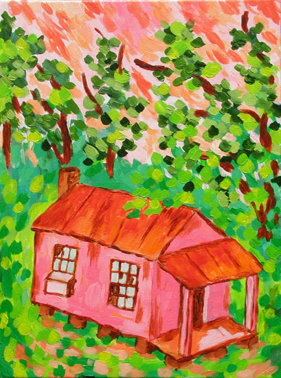 """Kudzoo House"" contemporary figurative painting. acrylic on canvas. 18 in x 24 in."