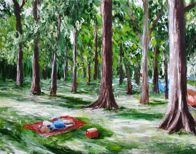"""Lovers in Overton Park"" contemporary figurative painting. acrylic on canvas. 20 in x 16 in."