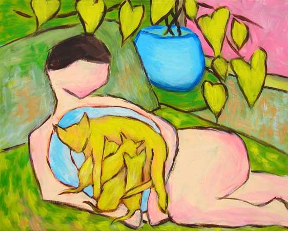 """Sweet Potato Momma Kitty"" contemporary figurative painting. acrylic on canvas. 20 in x 16 in."