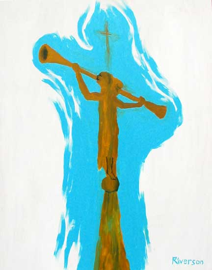 """The Angel Moroni, Multiple Perspective"" contemporary figurative painting. acrylic on wood 24 in x 30 in."