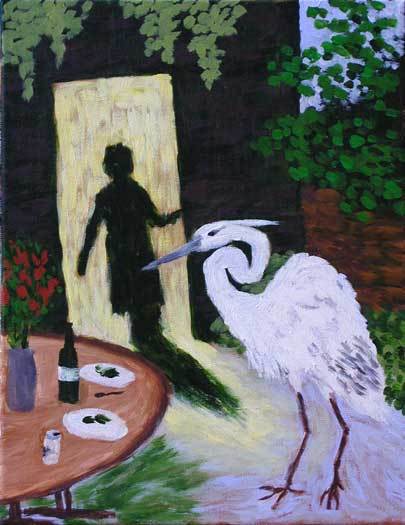 """Night Bird"" contemporary figurative painting. acrylic on canvas. 14 in x 18 in."