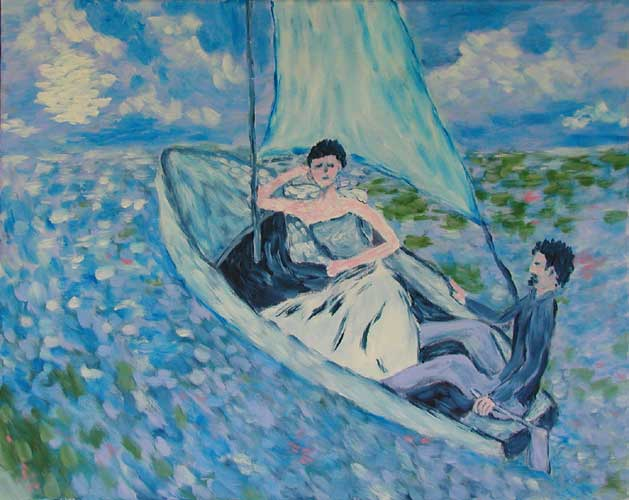 """Night Sailing"" contemporary figurative painting. acrylic on canvas. 20 in x 16 in."