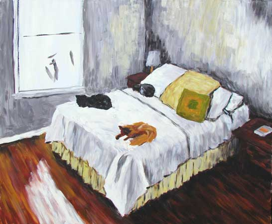 """Our Bed"" contemporary figurative painting. acrylic on canvas. 24 in x 20 in."