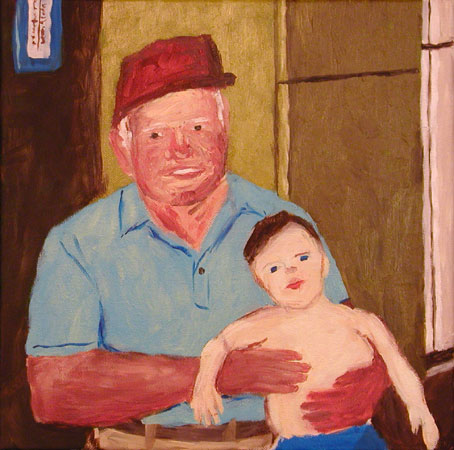 """Pawpaw and Sam"" contemporary figurative painting. acrylic on canvas. 12 in x 12 in."