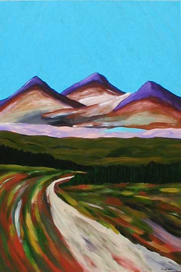 """Purple Mountains"" contemporary figurative painting. acrylic on wood. 24 in x 30 in."