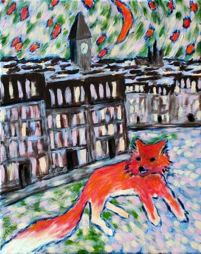 """Little Red Fox"" contemporary figurative painting. acrylic on canvas. 16 in x 20 i"