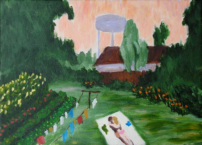 """North Mississippi Backyard Ro-mance"" contemporary figurative painting. acrylic on canvas. 14 in x 10 in."