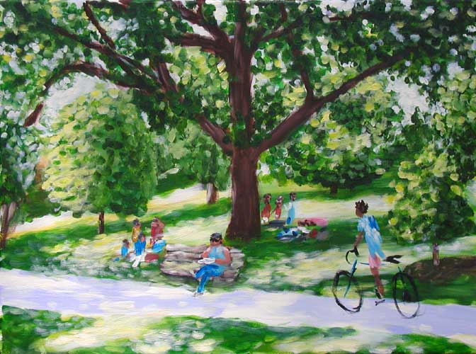 """Saturday in the Park"" contemporary figurative painting. acrylic on canvas. 24 in x 18 in."