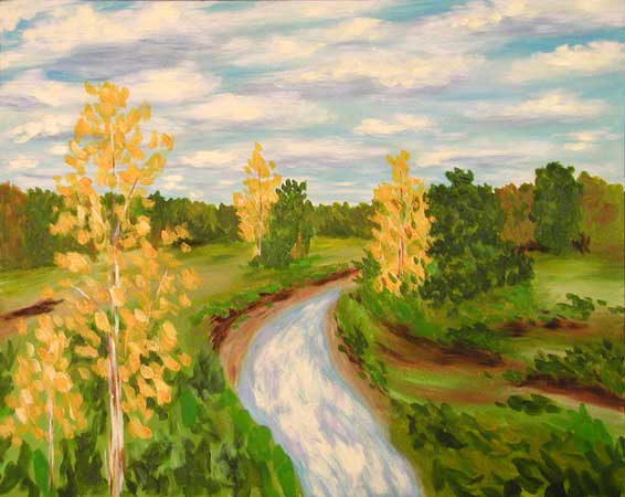 """Distance Memory, Sycamore Creek"" contemporary figurative painting. acrylic on canvas. 14 in x 18 in."