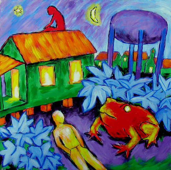 """Tote Frog Night"" contemporary figurative painting. acrylic on canvas. 20 in x 20 in."