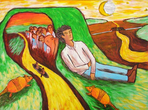 """Armadillos at Whispering Mound"" contemporary figurative painting. acrylic on canvas. 20 in x 16 in."