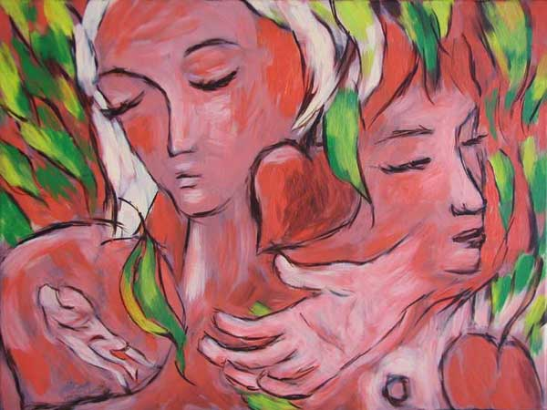 """""""The Peach Orchard"""" contemporary figurative art. acrylic on canvas. 24 in x 18 in."""