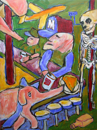 """Pink Elepant (Lonely Man at Sports Bar)"" contemporary figurative painting. acrylic on canvas. 18 in x 24 in."