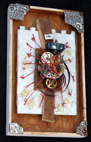 """Robot Prometheus Icon"" assemblage sculpture. found objects, wood, copper wire, thread, tacks, adhesive, acrylic paint. 7.5 in x 12 in x 4 in."