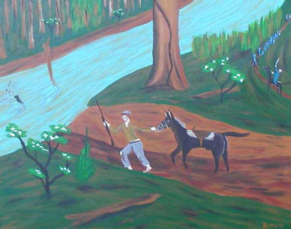 """Pursued"" contemporary figurative painting. acrylic on canvas. 30 in x 24 in."
