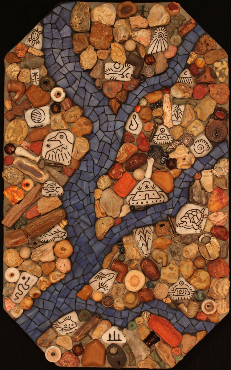 """Three-Cent-Running-Money River Map"" contemporary mosaic artwork. Stained glass, engraved marble shards, Mississippi chert-gravel fossils, petrified wood, clay pipe bowls, marbles, porcelain doll parts, keys, locks, beads, and other found objects on concrete panel."