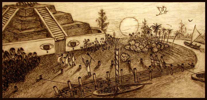 """""""River Temple"""" charcoal drawing."""