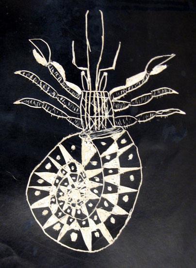 """""""Scratch Hermit Crab"""" scratch board drawing. 8 in x 11 in."""