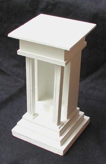 """""""Model for Shrine"""" wood, adhesive, acrylic paint. 4 in x 4 in x 10 in."""