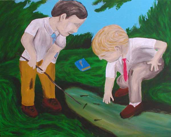 """Little Boys and Tadpoles"" contemporary figurative painting. acrylic on canvas. 30 in x 24 in."