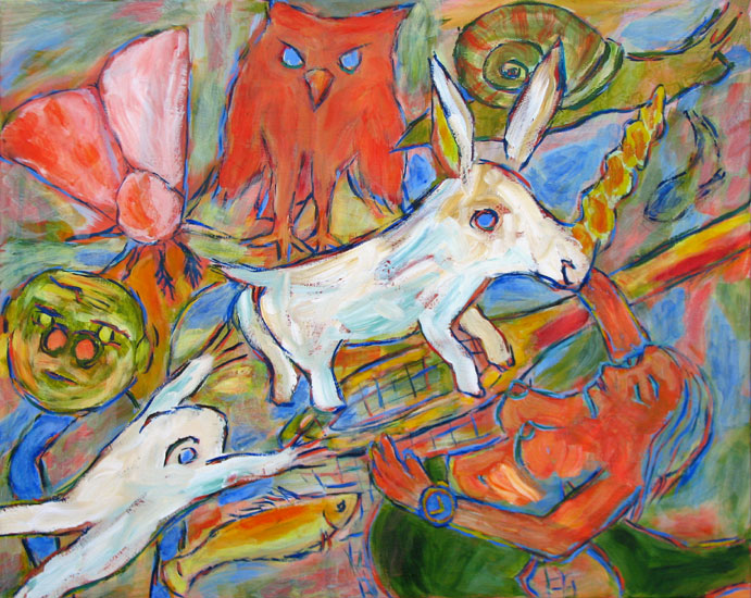 """The Unicorn and Other Mythical Beasts"" contemporary figurative painting. acrylic on canvas. 30 in x 24 in."